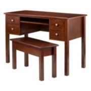 Winsome Emmett 3-Piece Writing Desk with Storage Bench Set