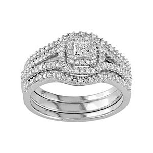 Stella Grace Sterling Silver 1/2 Carat T.W. Diamond Square Halo Engagement Ring Set