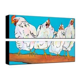 Trademark Fine Art ''Four Clucks'' Canvas Wall Art 3-piece Set