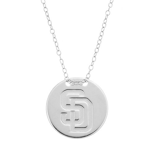San Diego Padres Sterling Silver Disc Pendant Necklace
