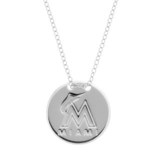 Miami Marlins Sterling Silver Disc Pendant Necklace