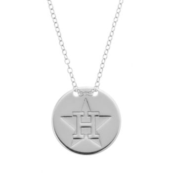 Houston Astros Sterling Silver Disc Pendant Necklace