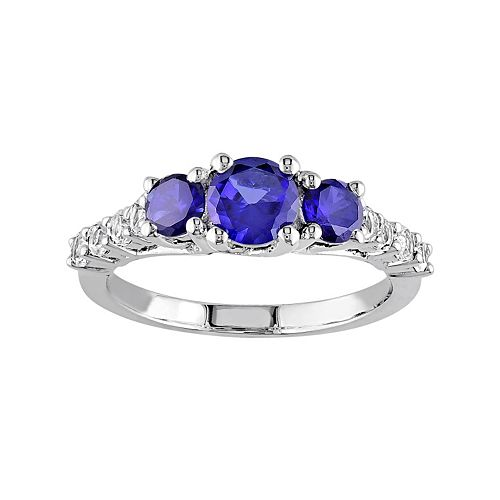 Stella Grace Lab-Created Blue & White Sapphire Sterling Silver 3-Stone Engagement Ring