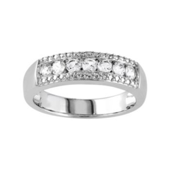 Sterling Silver Lab-Created White Sapphire Engagement Ring