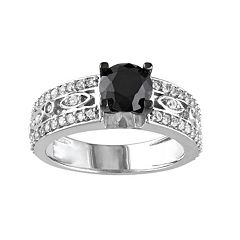 Black Spinel & Lab-Created White Sapphire Sterling Silver Openwork Engagement Ring