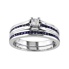 Sterling Silver Lab-Created Sapphire & 1\/6 Carat T.W. Diamond Engagement Ring Set by