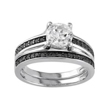 Stella Grace Sterling Silver Lab-Created White Sapphire & 1/3 Carat T.W. Black Diamond Engagement Ring Set