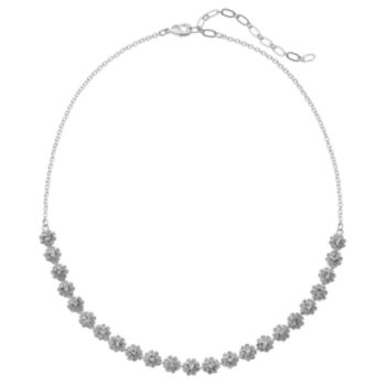 Simulated Crystal Flower Necklace