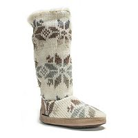 MUK LUKS Women's Maleah Snowflake Knit Boot Slippers