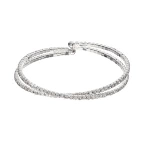 Simulated Crystal Crossover Cuff Bracelet