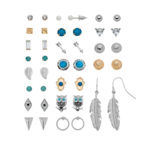 Mudd® Hasma, Evil Eye, Feather, Leaf, Arrow & Owl Earring Set