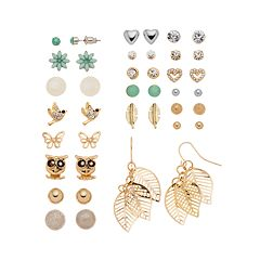 Mudd® Flower, Bird, Butterfly, Owl, Leaf & Feather Earring Set