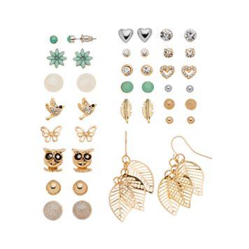 Mudd® Flower, Bird, Butterfly, Owl, Leaf & Feather Earring Set