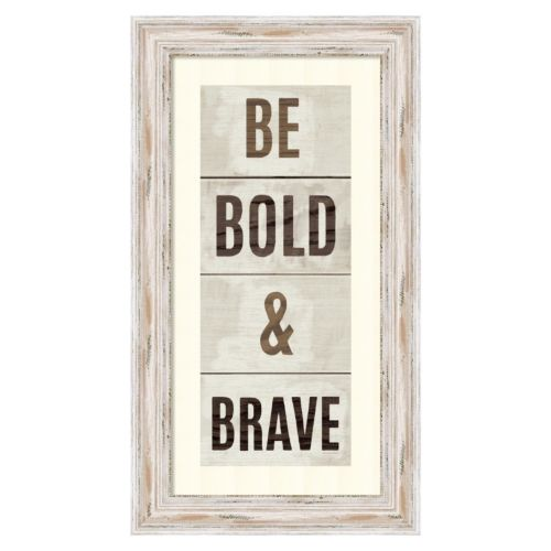 ''Wood Sign Bold and Brave on White Panel'' Framed Wall Art