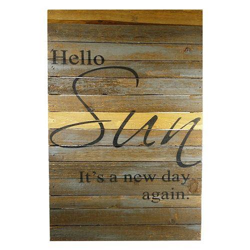 "Sweet Bird & Co. ''Hello Sun"" Reclaimed Wood Sign"