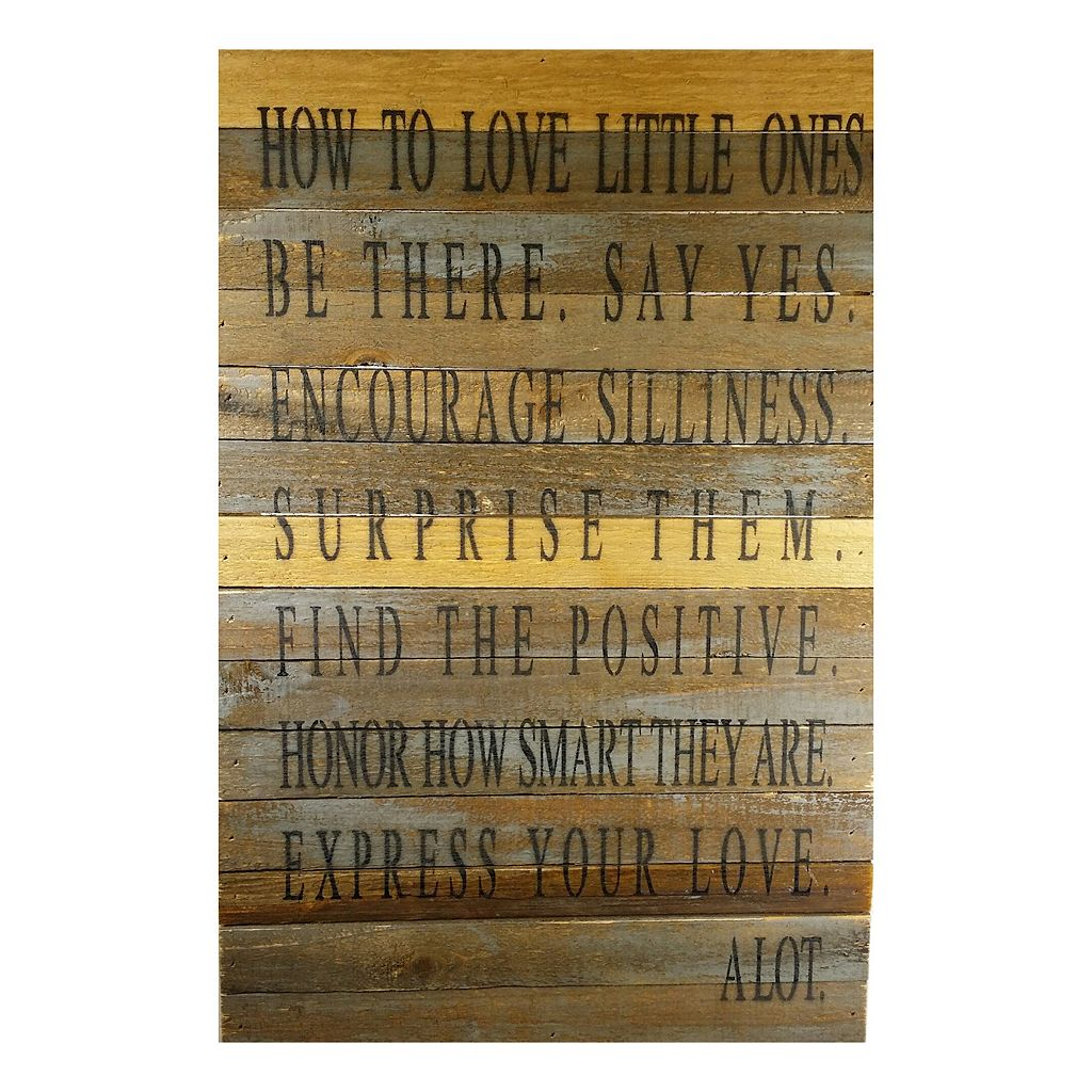 Sweet Bird & Co. ''How to Love Little Ones'' Reclaimed Wood Sign