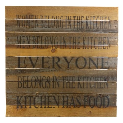 Sweet Bird & Co. ''Everyone Belongs in the Kitchen'' Reclaimed Wood Sign