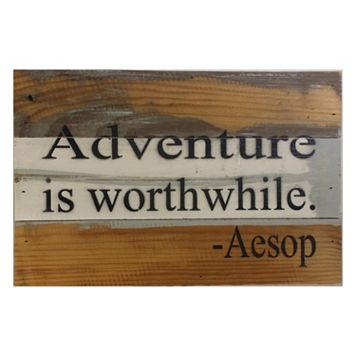 Sweet Bird & Co. ''Adventure is Worthwhile'' Reclaimed Wood Sign
