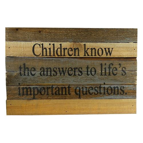 Sweet Bird & Co. ''Children Know the Answers'' Reclaimed Wood Sign