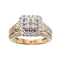 Cherish Always 10k Gold 1 Carat T.W. Certified Diamond Halo Engagement Ring