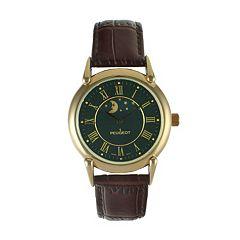Peugeot Unisex Moon & Stars Leather Watch - 3032BK