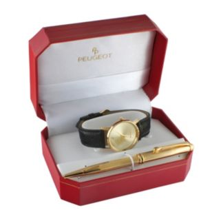 Peugeot Men's Leather Watch & Pen Set