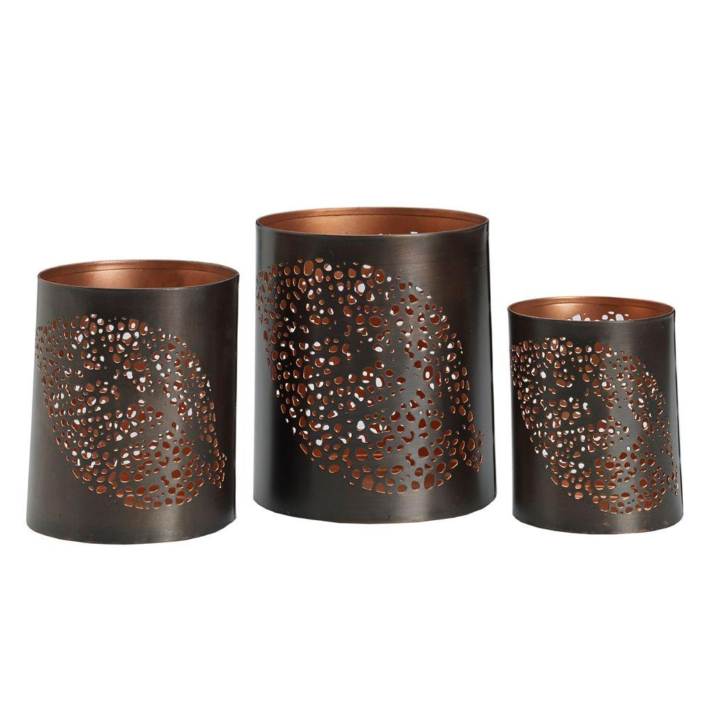 Studio Nova 3-piece Feather Metal Luminary Candleholder Set