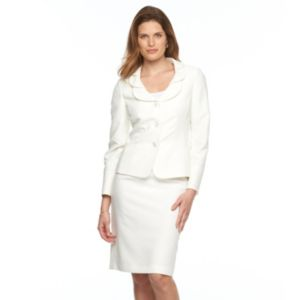 Women's Le Suit Jacquard Suit Jacket & Skirt Set