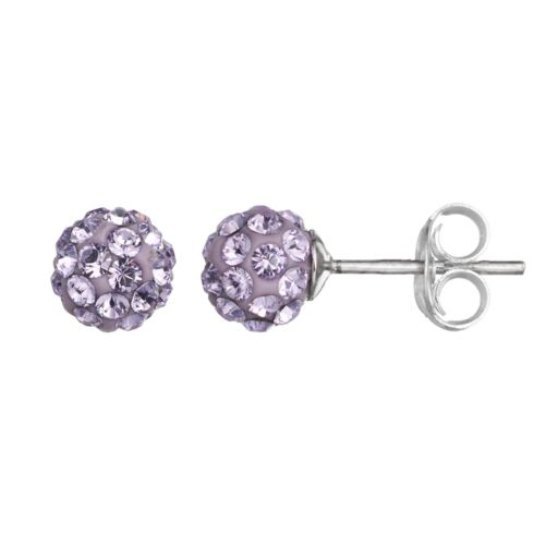 Charming Girl Kids' Sterling Silver Crystal Ball Stud Earrings - Made with Swarovski Crystals