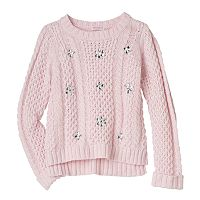 Design 365 Girls 4-6x High-Low Cable Knit Sweater