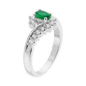 CITY ROX Silver-Plated Cubic Zirconia Bypass Ring