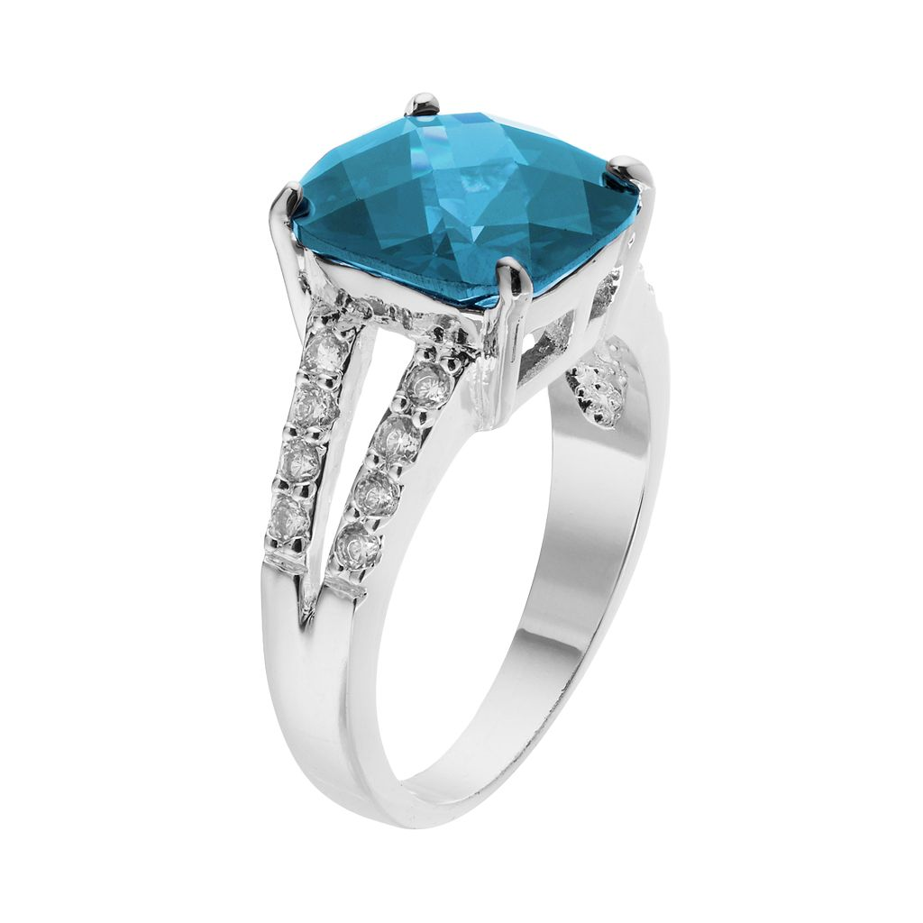 CITY ROX Silver-Plated Cubic Zirconia Ring