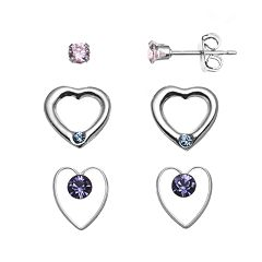 Charming Girl Kids' Sterling Silver Cubic Zirconia Stud & Crystal Heart Earring Set - Made with Swarovski Crystals