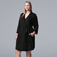 Plus Size Simply Vera Vera Wang Basic Luxury Wrap Robe