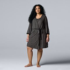 Plus Size Simply Vera Vera Wang Basic Luxury Wrap Robe