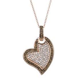 Sterling 'N' Ice Crystal 14k Rose Gold Over Silver Tilted Heart Pendant Necklace - Made with Swarovski Crystals