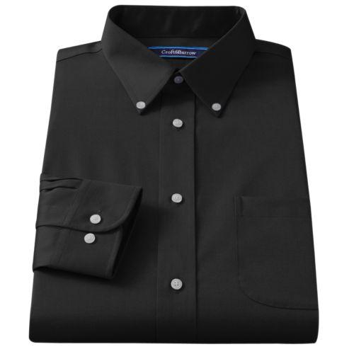 Big & Tall Croft & Barrow® Classic-Fit Solid Broadcloth Button-Down Collar Dress Shirt