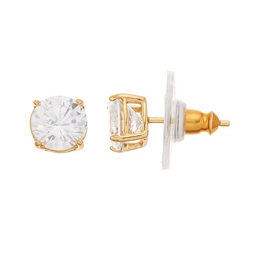 14k Gold Over Silver Cubic Zirconia Stud Earrings