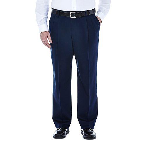 Big & Tall Haggar Premium Stretch No-Iron Khaki Pleated Pants