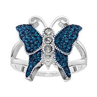 Crystal Luxuries Silver-Plated Butterfly Ring