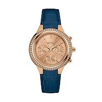 Caravelle New York by Bulova Women's Crystal Leather Chronograph Watch - 44L183