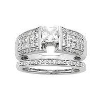 14k White Gold IGL Certified 1 3/8 Carat T.W. Diamond Multirow Engagement Ring Set