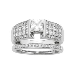 14k White Gold IGL Certified 1 3/8 Carat T.W. Diamond Multirow Engagement Ring Set