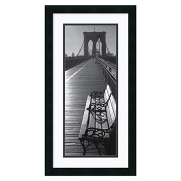 ''Brooklyn Bridge Benches'' Framed Wall Art