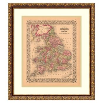 ''County Map of England and Wales, 1867'' Framed Wall Art