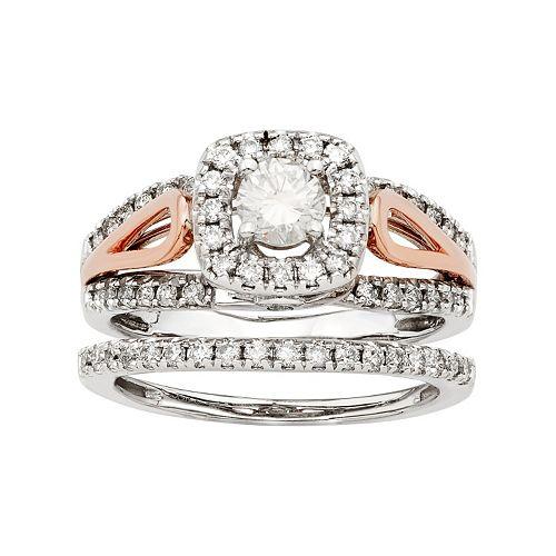 Two Tone 14k Gold IGL Certified 1 Carat T.W. Diamond Halo Engagement Ring Set