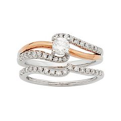 Two Tone 14k Gold IGL Certified 3/4 Carat T.W. Diamond Twist Engagement Ring Set
