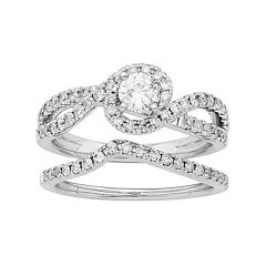 14k White Gold IGL Certified 1 Carat T.W. Diamond Swirl Halo Engagement Ring Set