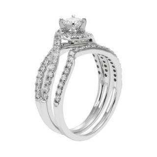 14k White Gold IGL Certified 1 Carat T.W. Diamond Swirl Halo Engagement Ring Set