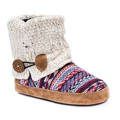 MUK LUKS Women's Patti Cuffed Button Bootie Slippers